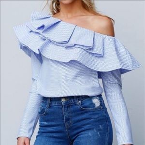 Luxe by stylekeepers blue white striped shirt